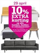 10% extra korting op bedden, banken en eetkamerstoelen