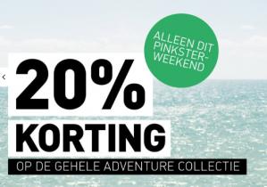 Op alle Adventure/Outdoor artikelen bij Perrysport 20% extra korting