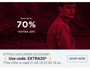 Code voor 20% korting op de sale met 70% korting