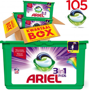 Ariel 3in1 PODS Colour & Style - Kwartaalbox 105 Wasbeurten voor €23,23
