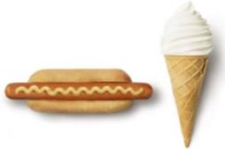 Twee ijshoorntje(s) en/of hotdog(s) Gratis