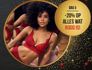 Alle rode items 20% korting bij Hunkemöller incl. gratis verzending dmv code