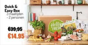 25 euro korting op je box bij Hellofresh, dus €2,49 per maaltijd
