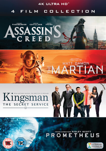 4 Film Collection Assassin's Creed, Kingsman, Prometheus, The Martian voor €36,49
