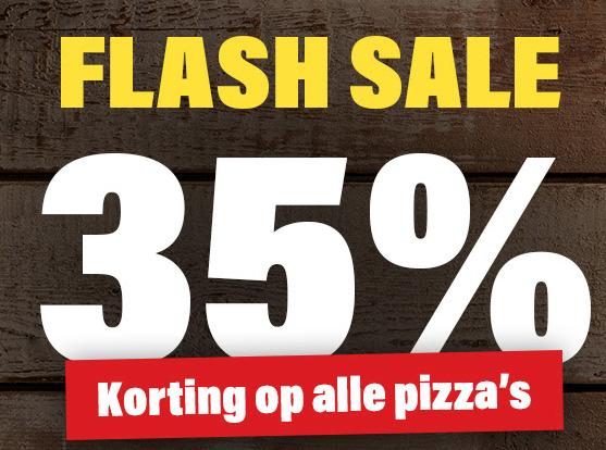 35% korting op alle pizza's