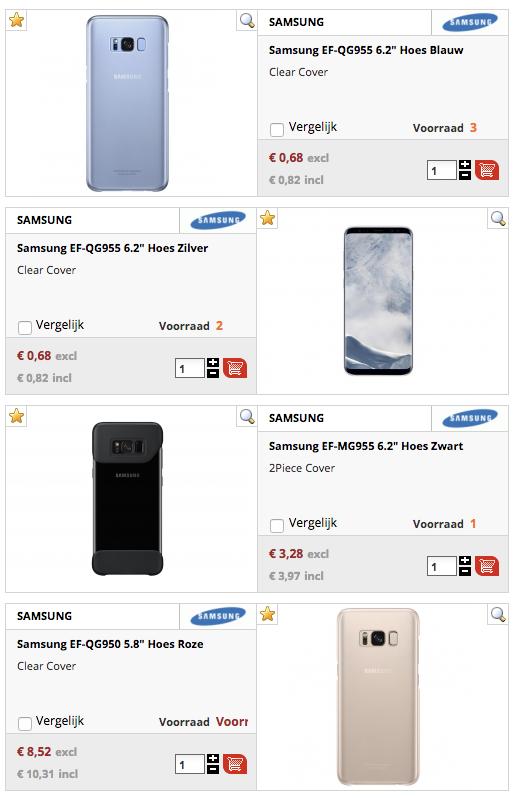 FOUT! Verschillende Samsung Galaxy S8 telefoonhoesjes vanaf €0,82