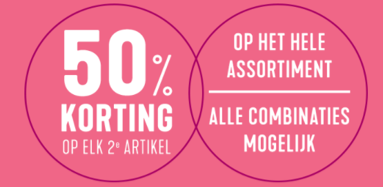 Holland&Barrett sale op elk 2de artikel 50% korting