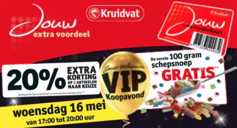 VIP Avond Kruidvat 20% extra korting op 2 artikelen naar keuze