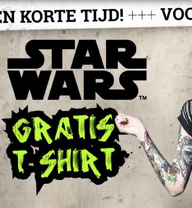 Gratis StarWars T-shirt bij je bestelling vanaf 30 euro