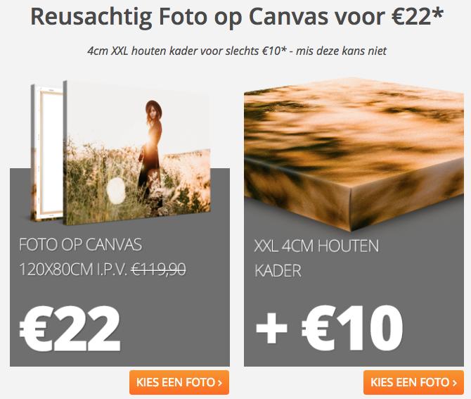 XXL Foto op canvas voor €22