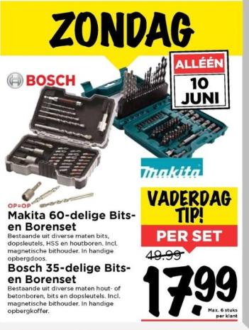 Makita 60-delige bits- en borenset of Bosch 35-delige bits- en boren set voor €17,99