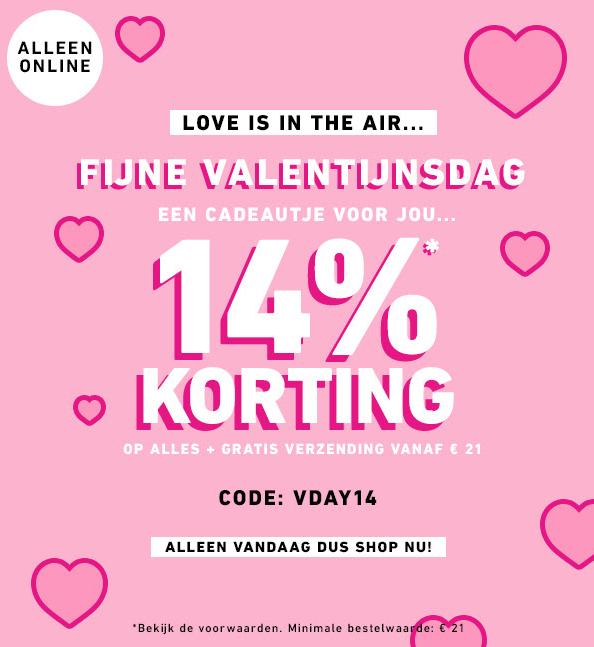 14% korting door middel van een code op valentijnsdag