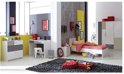 Complete tienerkamer Tienerkamer Ludique met bed, nachtkastje & bureau voor €149,99