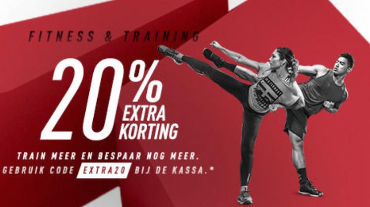 20% extra korting op fitness & training