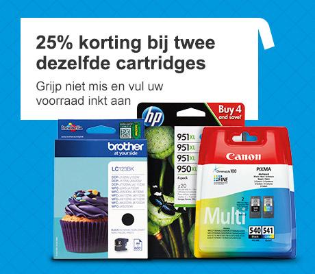25% korting op elke 2e inkt cartridge