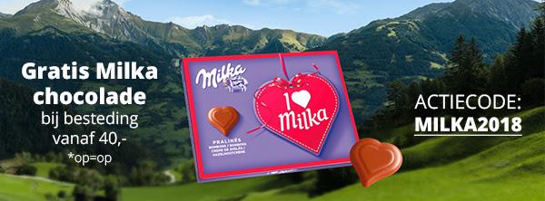Gratis Milka chocolade bij je bestelling