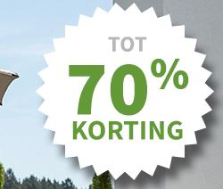 Tot 70% korting op verschillende parasols bij Warentuin
