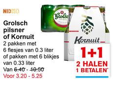 Sixpacks Grolsch of Kornuit 1+1 gratis