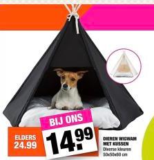 Dieren wigwam met kussen voor €14,99