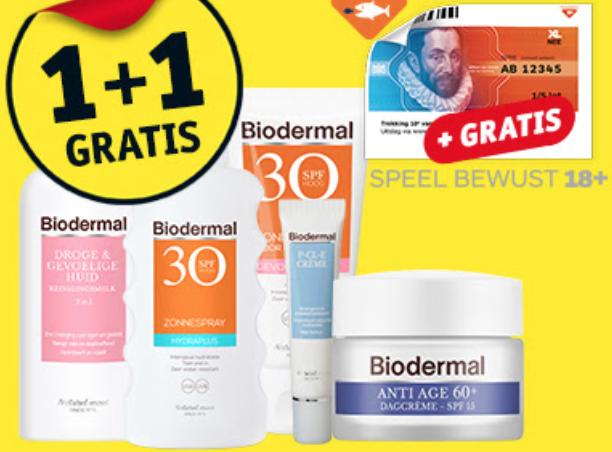 1+1 gratis op Biodermal + gratis 1/5 staatslot