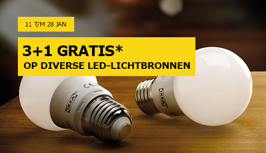 Diverse Led-lampen 3+1 Gratis bij Ikea