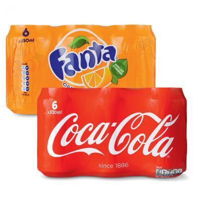 Coca Cola Fanta of Finley 6 blikjes voor €2,49