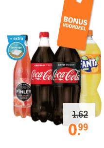Coca Cola / Fanta / Finley  (1 liter) voor €0,99