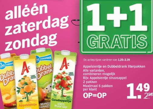 Appelsientje en Dubbeldrank literpakken 1+1 Gratis