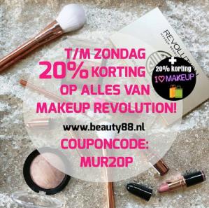 Kortingscode Beauty88 voor 20% korting op alles van Makeup revolution