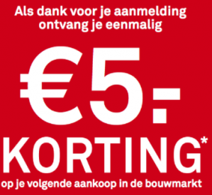 Code voor €5 korting op je volgende aankoop