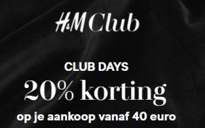 H&M club days met 20% korting voor clubmembers