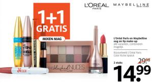 L'Oreál en Maybelline oog en lip make-up 1+1 Gratis