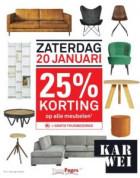 25% korting op alle meubelen zaterdag 20 januari