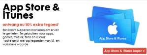iTunes kaarten 10% extra tegoed
