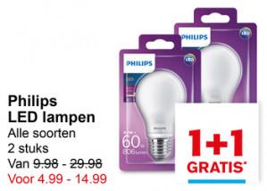 Alle Philips led lampen 1+1 gratis