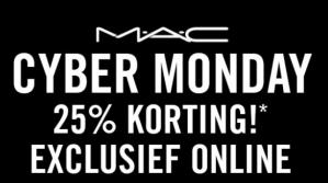 CyberMonday bij Mac cosmetics met 25% korting en gratis verzenden