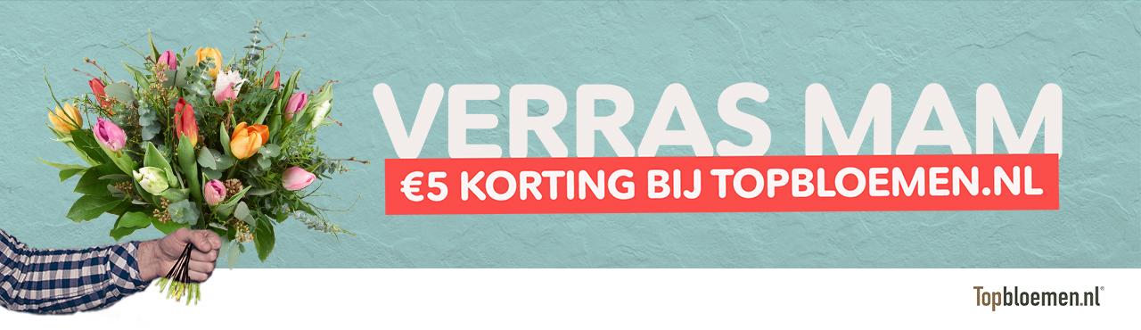 Win een moederdagveiling en ontvang € 5,- korting voor Topbloemen.nl