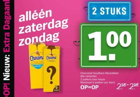 2 pakken Chocomel voor €1