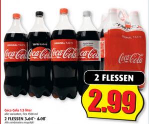 2 Flessen Coca Cola 2x1,5L voor €2,99