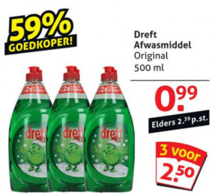 Dreft af­was­mid­del 3 x 500 ml voor €2,50
