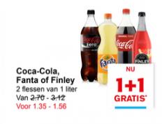 Coca cola, Fanta en Finley 1 Lt  1 + 1 gratis