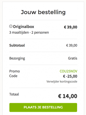 Kortingscode Hellofresh voor €25 korting op alle boxen