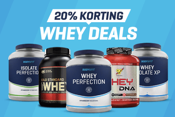 Code voor 20% korting op alle Whey Proteine