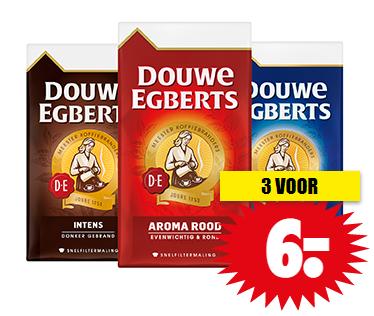 Douwe Egberts koffie 3 pakken voor €6