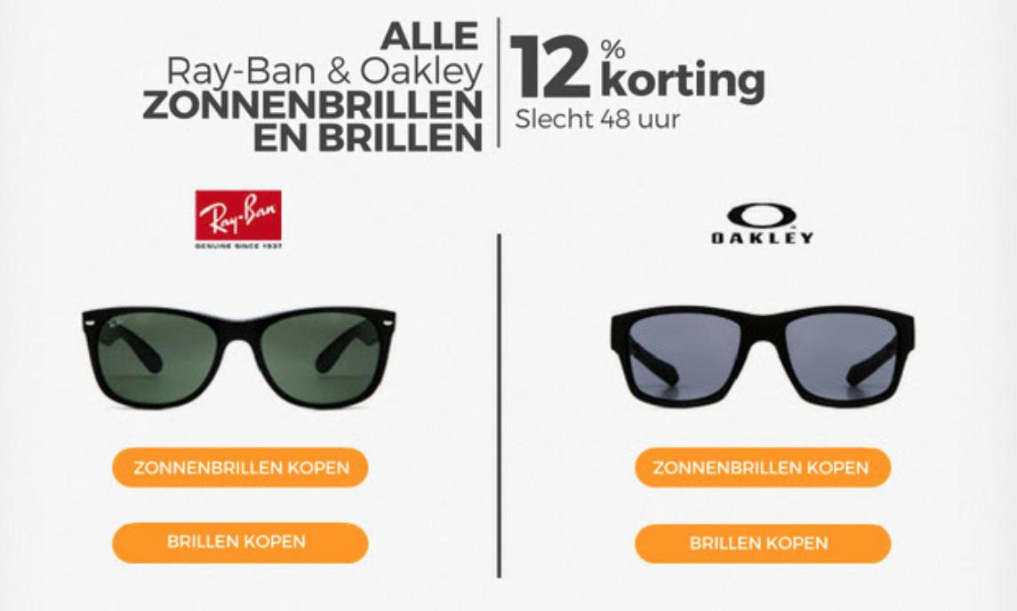 12% korting op alle Ray-Ban en Oakley zonnebrillen