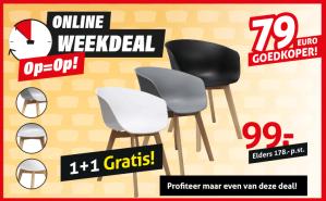2 eetkamer stoelen voor €99 (Wit, Grijs of Zwart)