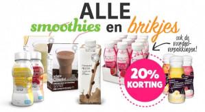 -20% korting op smoothies en Brikjes