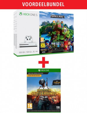 Xbox One S White 500GB incl Minecraft, Minecraft ,Story Mode en PlayerUnknown's Battlegrounds Game Preview Edition voor €199