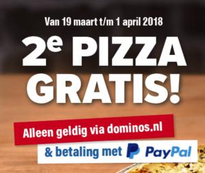 Code voor 2e pizza gratis bij Dominos dmv paypal