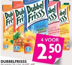Dubbelfriss diverse smaken 4 voor €2,50